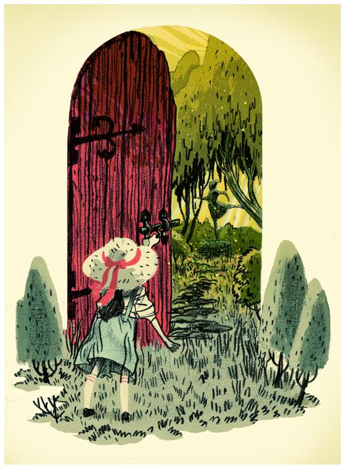 door, secret garden, fantasy, child, girl