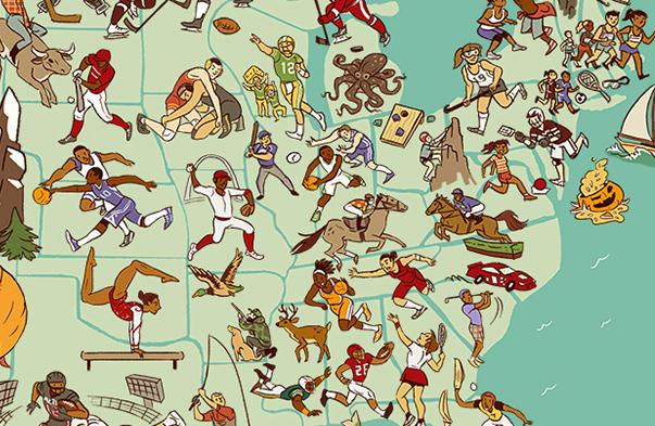 Jess Fink USA Sports MAp