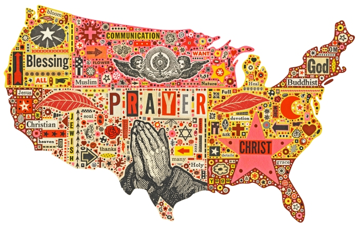 Collage map of the United States with religous symbols