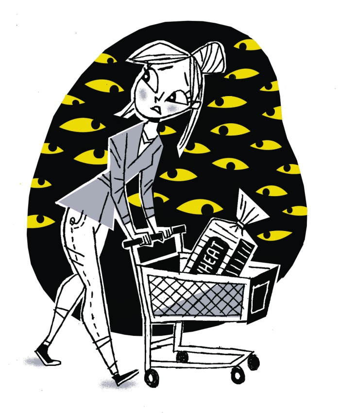 woman with a grocery cart, eyes are looking at her