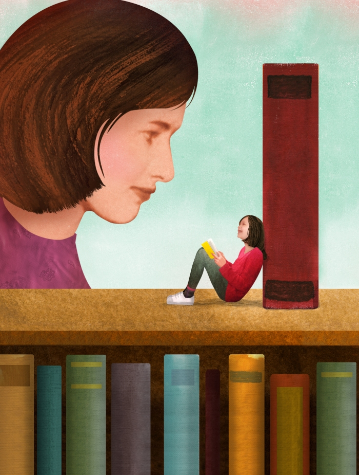 a woman in a library, a small girl sits on the bookshelf