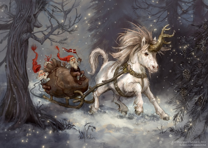 Unicorn Sleigh ride through the Snow
