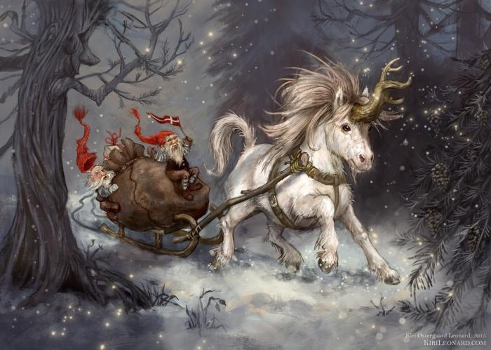 Unicorn Sleigh ride through the Snow
