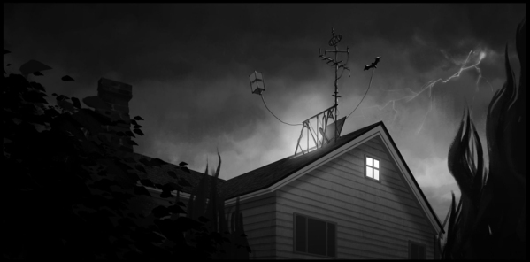 """Frankenweenie"" Concept art of the roof of the Frankenstein house. ©2012 Disney Enterprises. All Rights Reserved."