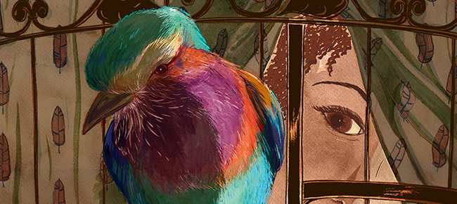 editorial-illustration-michelle-kondrich-missing-generation-lilac-breasted-roller-cage