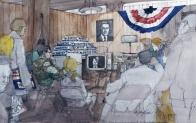 Staffers on Senator Eugene McCarthy's campaign watching Robert F. Kennedy on television.