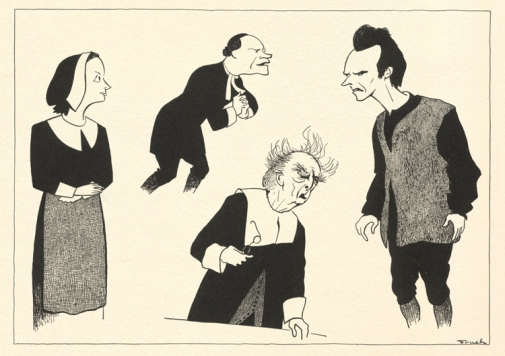Beatrice Straight, E.G. Marshall, Walter Hampden, and Arthur Kennedy in The Crucible.