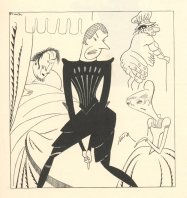 Dudley Digges, Alfred Lunt, Ernest Cossart, and Margalo Gillmore in Volpone.