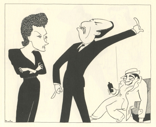 Gloria Swanson, Jose Ferrer, and Robert Strauss in Twentieth Century.