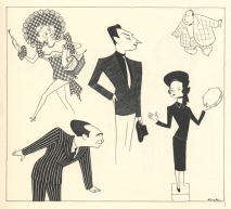 Vivian Blaine, Sam Levene, Robert Alda, Isabel Bigley, and Stubby Kaye in Guys and Dolls.